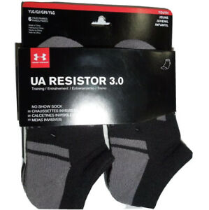 Under Armour boys Resistor no show Black Socks lot of 6 pair youth L / 1-4