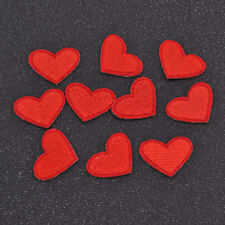 DIY Red Heart Embroidery Sewing Fabric Iron On Patch Cloth Applique Decor 10 pcs