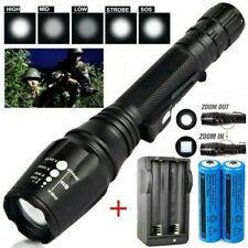 990000Lumens Super Bright Tactical LED Flashlight Rechargeable Torch Light Zoom