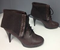 SHOEDAZZLE Brown Sweater Cuff Lace Up Platform High Heel Ankle Boot Sz 10 B4178