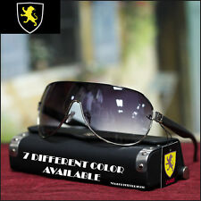Men's Khan Shield Sunglasses Sports Biker Driving Fashion Casual Black New
