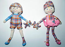 "Dakin Twin Cloth Dolls Girl & Boy With Their Teddy Bears Joined Pair 10 1/2"""