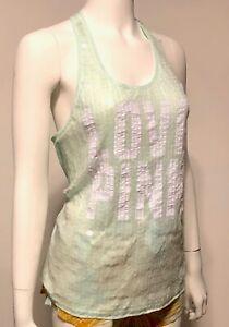 Victoria's Secret Pink Tank Top Sequin Logo Love Pink White Grey Purple L M XS