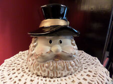 Little Mountain Man Covered Trinket Jar Mirror Brown Style Pottery Hat is Lid