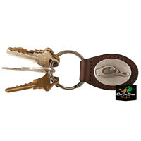 NEW DRAKE WATERFOWL SYSTEMS BROWN FULL GRAIN LEATHER KEY CHAIN FOB W/ LOGO