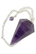 6 Sided Amethyst Pendulum/Divination Tool W/amethyst Marble End And Star pouch