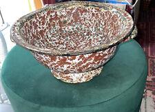 More details for vintage red and white splatterware / enamelware footed colander
