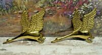 Set (2) Brass Flying Geese/Ducks Hanging Wall Decor Ornaments 7""