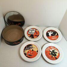 "*RARE Set Of 4 Pottery Barn ""Happy Halloween"" Ceramic 8"" Dessert Plate.(ba10393)"