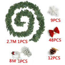 9ft Decorated LED Garlands Christmas Decor Wreath Fireplace Tree Pine Ribbon WS