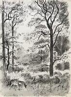 Karl Adser 1912-1995 Rotwild Rehe im Wald Lichtung Romsö Dänemark Natur Jagd