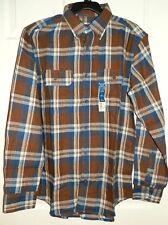 New Mens Medium 38-40 Brown Plaid Flannel Shirt Long Sleeves Faded Glory