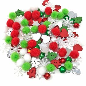 150 Mix Christmas Plastic Flatbacks & Mini Pom Poms Cardmaking Embellishments