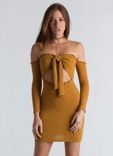 GoJANE Knot Now Ribbed Off-Shoulder Dress Mustard Size M item #128492 J