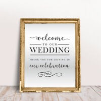 Welcome Wedding Mirror Decal Sign Graphic Venue Decor Sticker Removable