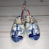 Hand Painted Porcelain Miniature Dutch Clogs Shoes Holland Blue Delft Windmills