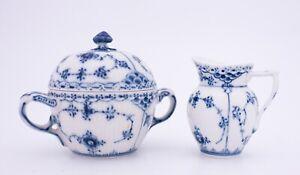 Blue Fluted #521, #691 - Royal Copenhagen - Sugarbowl & Creamer - 1st Quality