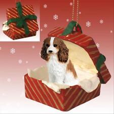 Cavalier King Charles Spaniel Brn Dog RED Gift Box Holiday Christmas ORNAMENT