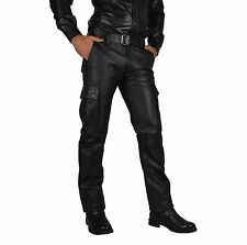 30 Waist CARGO LEATHER TROUSERS/CUIR PANTALON GAY PANTS/BIKER TROUSERS,LEDERHOSE