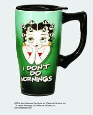 Betty Boop Green Ceramic Coffee Travel Mug, Plastic Lid, NIB [12034] Spoontiques
