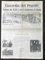 Giornale Gazzetta del Popolo N. 87 - Si apre la Conferenza di Stresa - 1935