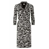 Hobbs Justina Black and Ivory Printed Wrap Dress Size 8 10 12 14 16 18