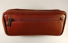 WOW! Premium DARK TAN leather pipe tobacco pouch / case