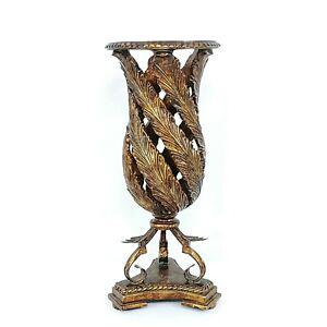 """Vase Planter Table Home Decor Ornate Leaf Design Vintage 16"""""""