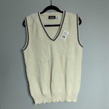 New Vintage 80s Brimwick Mens Ivory V-Neck Sweater Vest Knit FS Logo USA Size M
