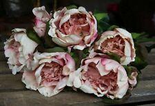 Bunch of 5 Silk Peonies in Antique Pink / Peach, Artificial Luxury Flowers