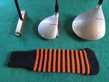 Knitted zebra style Fairway & Driver Golf Club head cover Black / Orange