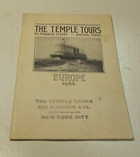 1924 Temple Tours of Europe Cruise Ship Travel Brochure 32pg Vintage Photos