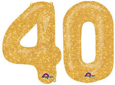 "40th BIRTHDAY BALLOONS 34"" LATEST DESIGN SUPER SPARKLE GOLD NUMBER BALLOONS"