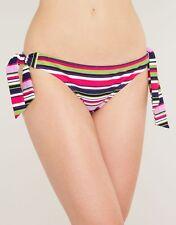 Ladies Tie Side Bikini Brief Pink Purple Stripe Tequila Figleaves Swimwear NEW