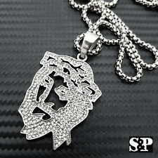"""Pendant w/ 24"""" Round Box Chain Necklace Stainless Steel Iced out 3D Jesus Face"""
