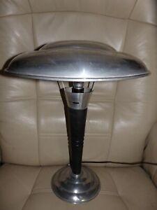 LAMPE CHAMPIGNON INDUSTRIELLE VINTAGE 30-40 DE TABLE BUREAU ART DECO METAL/BOIS