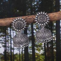 Bollywood Oxidized Silver Plated Handmade jhumka jhumki Sunflower Earrings #GQ00