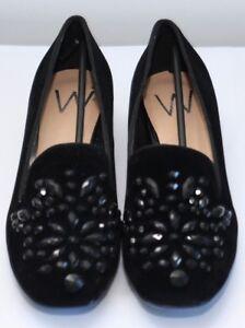 Wallis Ladies Black Jewelled Upper Loafer UK 4 EU 37 SH05 14