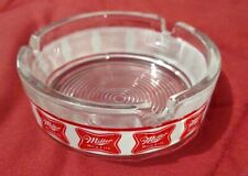 Vintage Miller High Life Beer Round Glass Advertising Ashtray -Smoking Accessory
