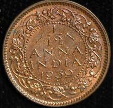 India 1/12 Anna 1939 UNC MS60 KM#527 (Tray 112)