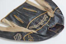 Harley Davidson Men's Rare Racing Distressed Leather Jacket M L European Edition