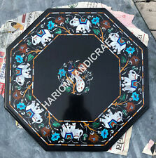 """15"""" Black Marble Coffee Table Top Mother Of Pearl Elephant Peacock Inlaid C866"""