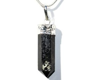 """CHARGED Starburst Flash Nuummite Crystal Perfect Pendant™ + 20"""" Chain"""