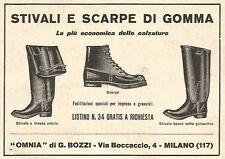 W9912 Stivali di gomma - OMNIA di G. Bozzi - Pubblicità del 1931 - Old advert