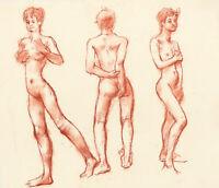 Peter Collins ARCA - c.1970s Sanguine, Nude Figure Study