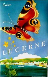Original vintage poster LUCERNE LAKE PILATUS  BUTTERFLY 1953