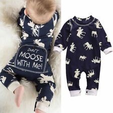 NEW 'Don't Moose With Me' Baby Boys Blue Long Sleeve Romper Jumpsuit