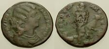 046. Roman Bronze Coin. FAUSTA, AE-Follis. Thessalonica. Emperess w/Children