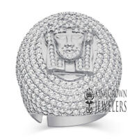 Big XL Mens 10K White Gold On Sterling Silver Jesus Face Dome Ring Diamonds Band