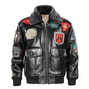 Avirex Air Force Bomber Jacket  Genuine Leather Mens G1 Winter Fur Collar Coat